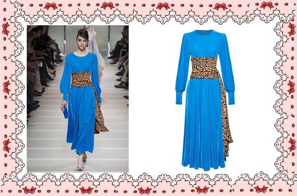 ⚡肯尼芭比⚡【保證實品拍攝】【最新款】藍色豹紋長袖及膝裙☆°連身洋裝☆°╮動物紋滾邊襯衫長裙【日本製】