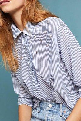 Rails 美國加州質感品牌 優雅淺灰 珍珠綴飾條紋襯衫 sizeS apt-3r
