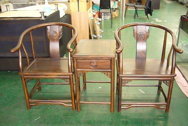 樂居二手家具 P790*原木明式雞翅木公婆椅*實木洽談桌椅休閒會議桌椅泡茶桌椅 書桌椅 辦公桌椅 會議桌椅