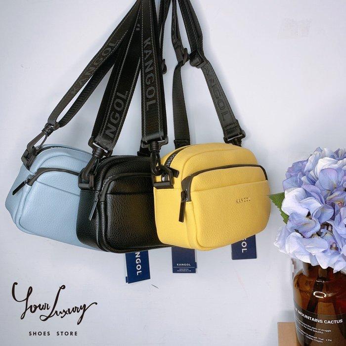 【Luxury】KANGOL 袋鼠 側背包 皮革款 相機包 荔枝皮 馬卡龍 小包包 斜背包 側背小包