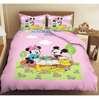 【迪士尼】【米奇米妮約會-粉】單人床包二件組 3.5x6.2尺/米奇單人床包米奇單人床單 米奇床包米妮單人床包米老鼠