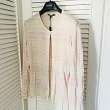 【JAEGER】淺米色細粉條紋開襟外套