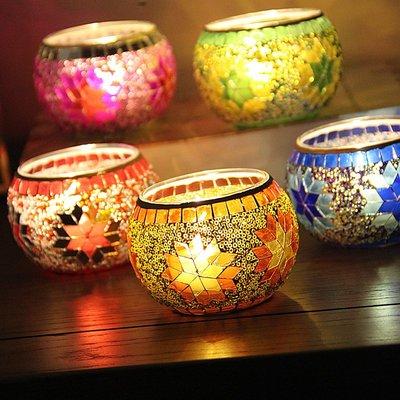 熱銷#歐式彩色雪花馬賽克玻璃燭臺浪漫燭光晚餐酒吧餐廳裝飾擺設送蠟燭#燭臺#裝飾