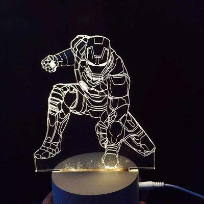 《鐵鐫創意》立體3D視覺光雕櫸木座燈‧小夜燈‧療癒氣氛燈-聖誕禮物‧情人節禮物‧生日禮物‧喬遷新居賀禮-鋼鐵人款