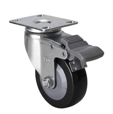 港灣之星-腳輪 輕型3寸60kg平頂剎車聚氨酯(PU)腳輪 36123H-363-64