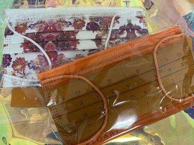 【CSD 中衛】X 寶格麗聯名口罩(一代原廠包裝)  白花&橘logo印花 各1袋  附原廠外盒1個  防塵非醫療口罩