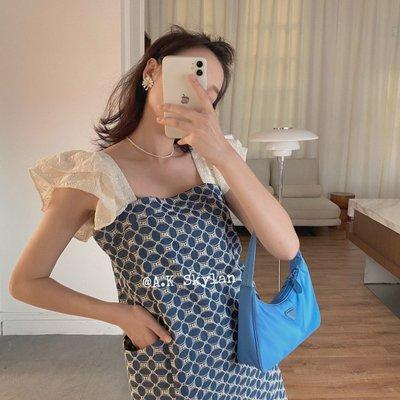 visa正韓專屬女裝AK 洋氣荷葉邊小飛袖幾何印花氣質清新連身裙夏日短裙2021新款
