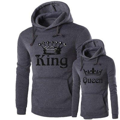 『潮范』  N4 外貿新款印花情侶衛衣 K男Q女棉質連帽外套 夾克 套頭衫 連帽上衣