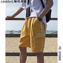 男裝男裝 2019夏季潮流字母刺繡口袋工裝短褲學生休閒沙灘五分褲
