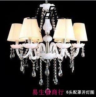 【易生發商行】田園白色蠟燭水晶吊燈歐式...
