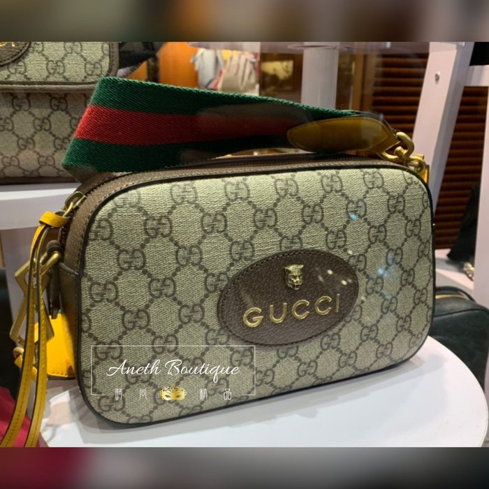 Gucci Supreme 虎頭包 相機包 綠紅綠背帶
