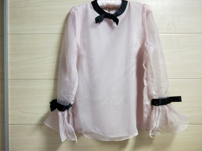 丹丹衣坊--韓款粉色雪紡紗上衣