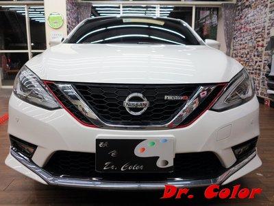 Dr. Color 玩色專業汽車包膜 Nissan Sentra 火龍紅/高亮黑_水箱護罩線條/前下巴線條/引擎蓋/車頂