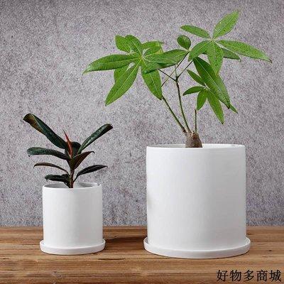 花盆 花器 園藝用具 田園裝飾 直筒型陶瓷花盆白色黑色磨砂亞光簡約水培綠蘿吊蘭多肉盆