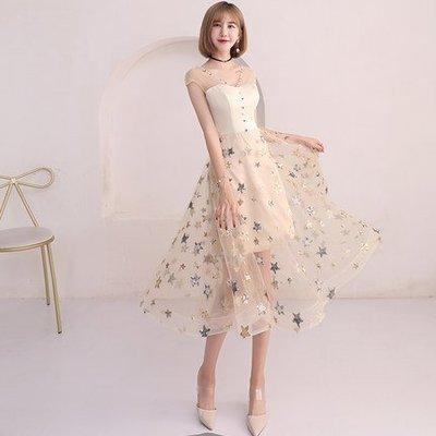 【曼妮婚紗禮服】3件免郵~結婚 聚會 生日派對 宴會  韓版修身顯瘦中長款禮服連衣裙 CF200