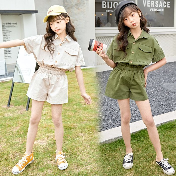 •*~ 辣媽咪衣飾小舖 ~*•❤童裝系列❤K870421韓版大童夏款甜美可愛襯衫短袖上衣+短褲二件套