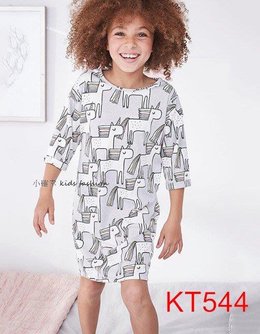 小確幸衣童館KT544 歐美款中大童純棉印花五分袖淺紫色滿版獨角獸夢幻連身裙