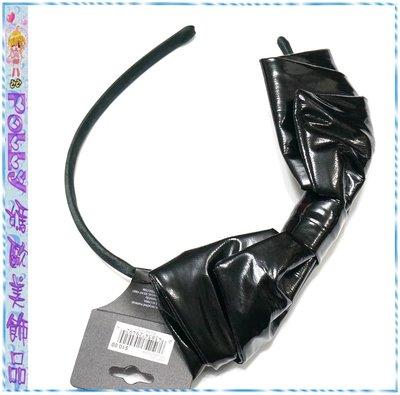 ☆POLLY媽☆歐美mstylelab黑色漆亮皮褶繞大蝴蝶結(8.5×20cm)包緞窄版髮箍