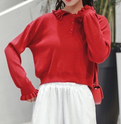 SeyeS  FRUITS個性古著混搭設計感雜誌款復古荷葉娃娃領針織衫