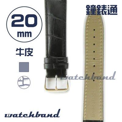 【鐘錶通】C1.10AA《霧面系列》鱷魚格紋-20mm 霧面黑┝手錶錶帶/皮帶/牛皮錶帶┥