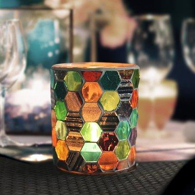 熱銷#歐式多彩六邊杯形馬賽克玻璃燭臺現代家居燭光晚餐裝飾送電子蠟#燭臺#裝飾