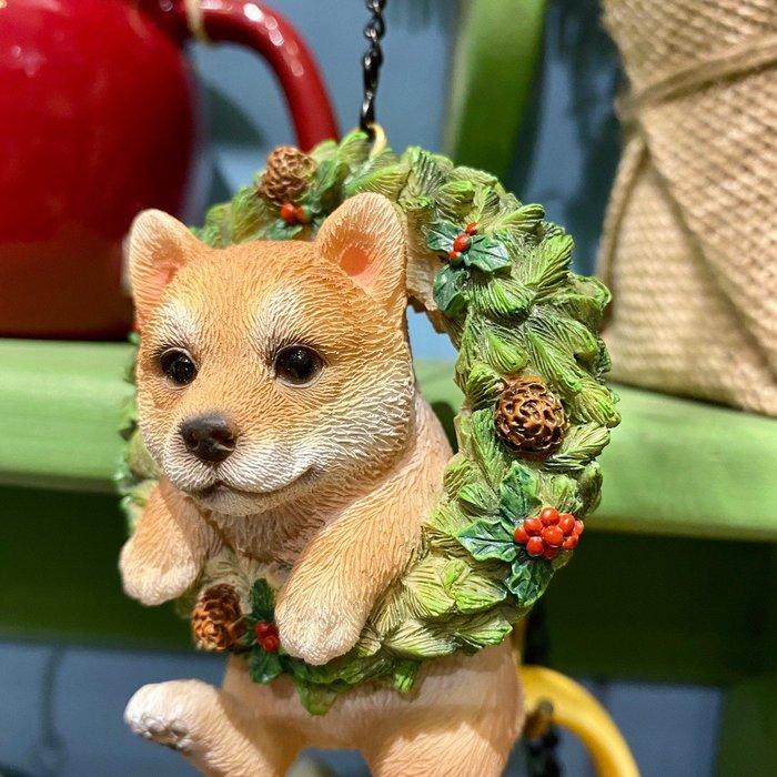 《齊洛瓦鄉村風雜貨》日本zakka雜貨 柴柴系列 可掛式聖誕花圈柴犬 迷你小柴花圈造型裝飾 居家佈置 店家聖誕節掛飾