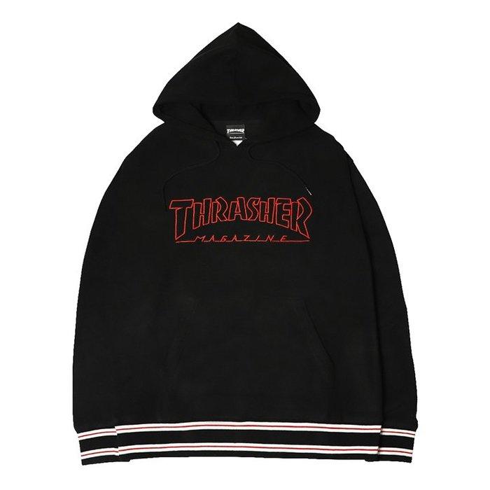 【QUEST】THRASHER OUTLINE HOMETOWN HOODED 外框LOGO 帽T 黑色 日線