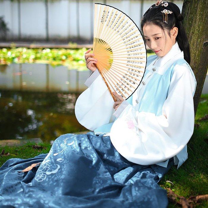 月滿霜華 日常漢服女繡花方領比甲明制襖裙春裝清倉特價