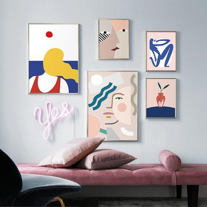 北歐現代簡約莫蘭迪組合人物抽象裝飾畫畫心微噴打印畫芯(5款可選)