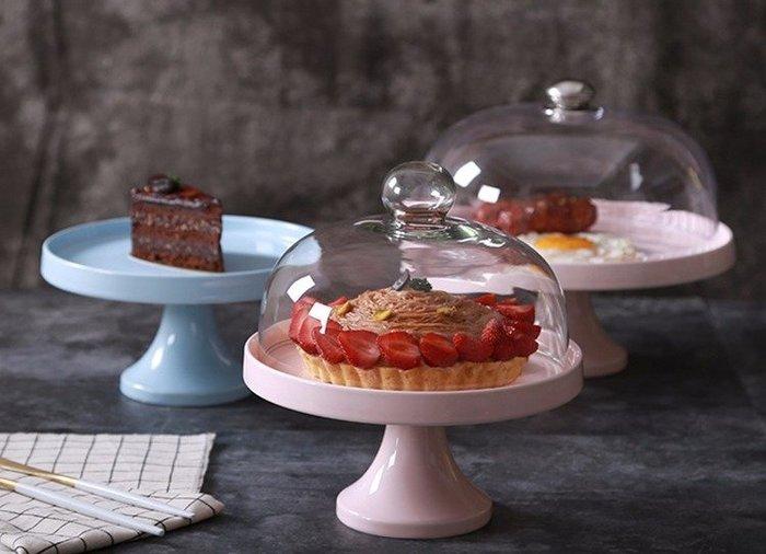 [C.M.平價精品館]現貨/歐式現代高腳蛋糕水果陶瓷托盤/點心盤含蓋 寬23公分 高22公分