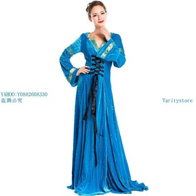 Varitystore實拍藍色歐洲宮廷服 萬圣節熱賣款游戲服 中世紀女主人服裝 晚禮服