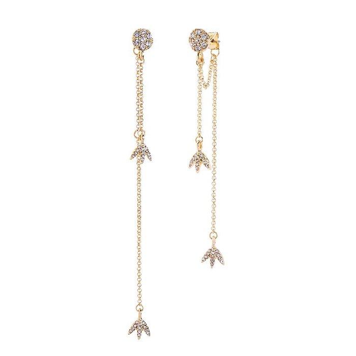 FEI日韓代購~2018新款不對稱歐美復古風格飾品 小鳥鑲鉆長款簡約原創女士耳釘