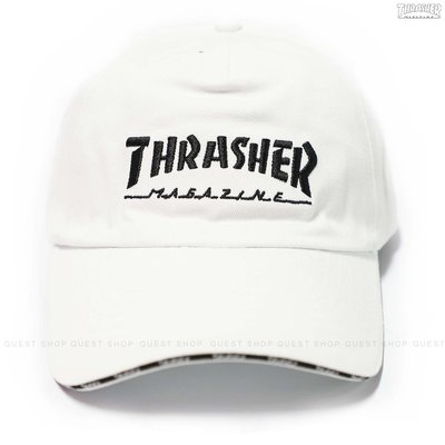 【QUEST】THRASHER HOMETOWN 5 PANEL SNAPBACK 字體LOGO後扣帽 白色 滿版帽沿