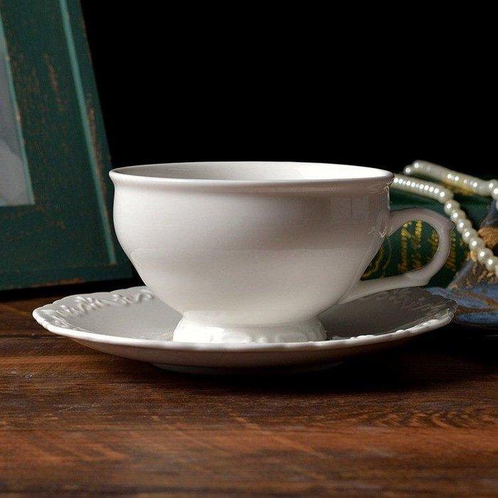 白色浮雕350ml摩卡杯拉花杯卡布諾杯