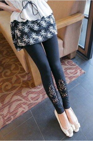 大尺寸 九分內搭褲   搭配蕾絲剪裁
