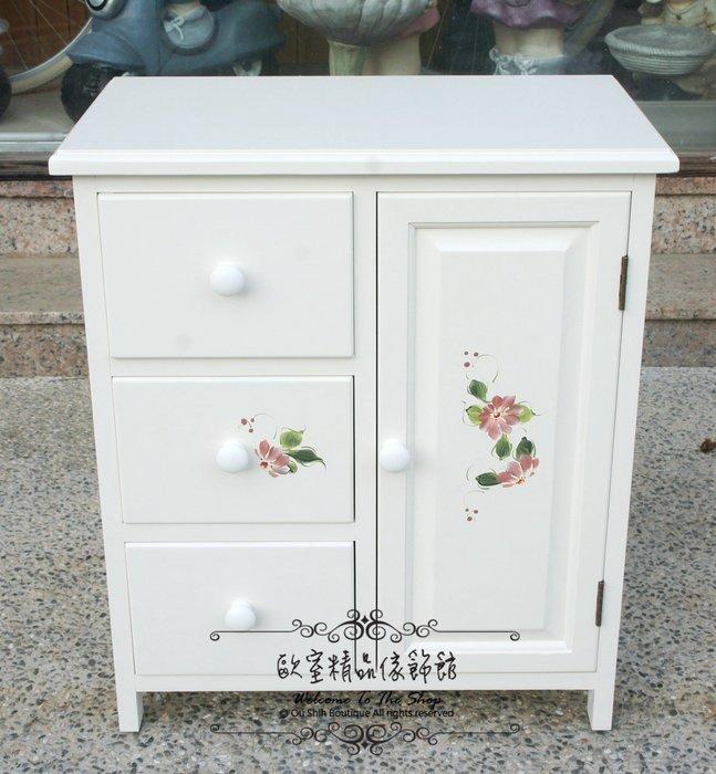 ~*歐室精品傢飾館*~鄉村風格 實木 烤漆 洗白 彩繪 花卉 小物櫃 收納櫃 置物櫃 居家 臥室 櫥櫃 低櫃~新款上市~