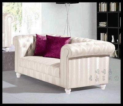 【Oo暖暖屋oO】 美式新古典**~艾芬妮白色皮革經典雙人份沙發~**