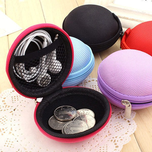 『馬卡龍圓形萬用耳機收納包』日本牧野 零錢包 拉鍊 隨身包中包帆布包