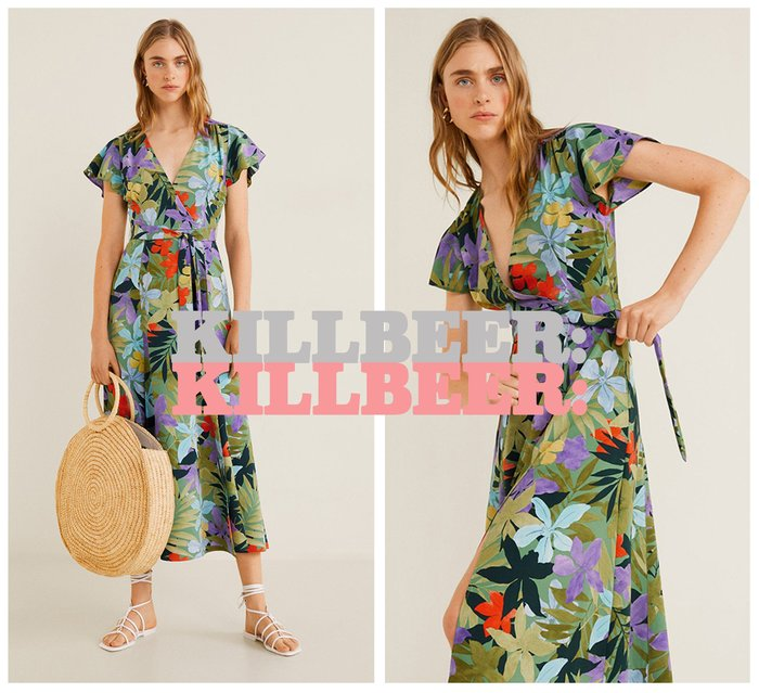 KillBeer:崔姬的花園派對之 歐美復古夏日度假風熱帶花灰水彩鮮豔印花V領綁帶連身裙長洋裝061713