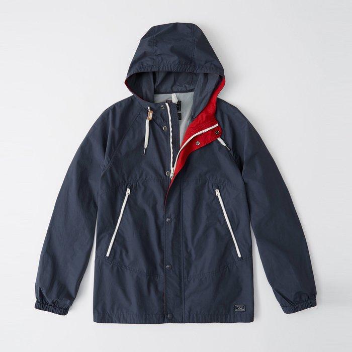 【Abercrombie&Fitch】【A&F】AF男款風衣外套薄款素小標黑藍 F04190321-03