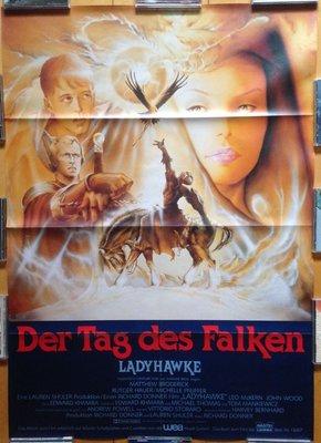 鷹女 (Ladyhawke) - Michelle Pfeiffer 蜜雪兒菲佛 - 德國原版手繪電影海報(1985年)