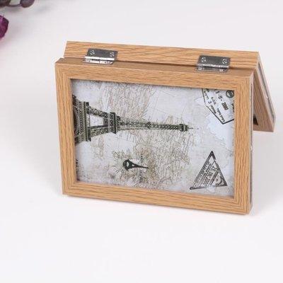 創意相框實木工藝6寸7寸雙面折疊相框連體組合相框擺台原木三折時架