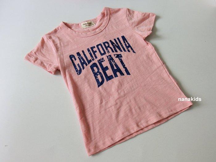 出清夏日款。女童裝。韓版英文字造形T恤 竹節棉短袖T恤  (粉色) 現貨~nanakids娜娜童櫥