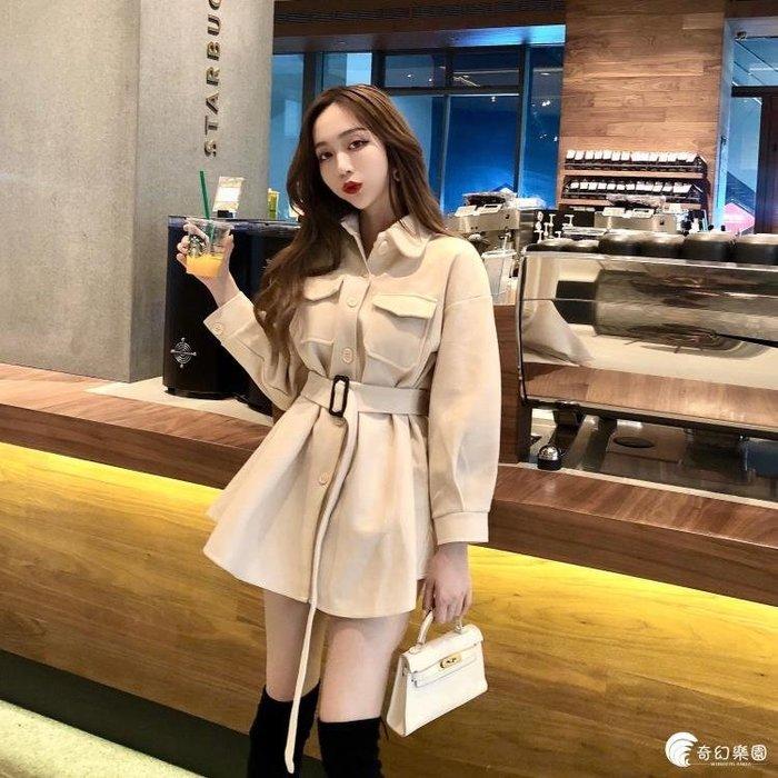 韓版寬鬆復古毛呢外套女秋季收腰中長款呢子大衣黑色翻領氣質上衣