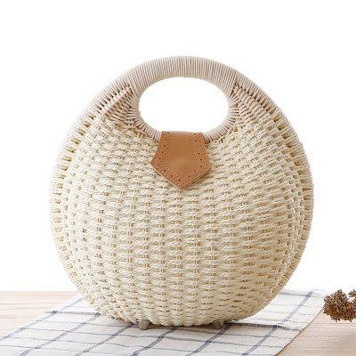 ~Linda~新款時尚貝殼手提包個性可愛藤編包草編包編織女包休閒包