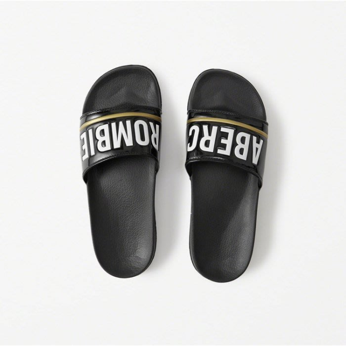 Maple麋鹿小舖 Abercrombie&Fitch * AF 黑色字母款拖鞋 * ( 現貨7/8號,8/9號  )