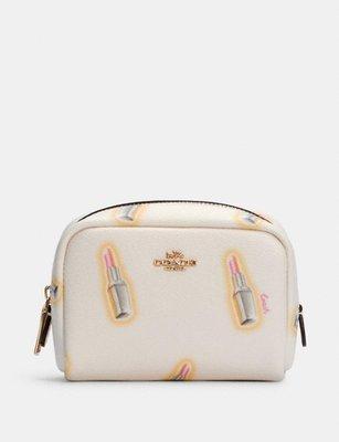 coach Mini Boxy Cosmetic Case With Lipstick Print