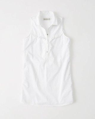 【天普小棧】A&F Abercrombie&Fitch Ruffle Shirtdress無袖襯衫洋裝白色XS/L號