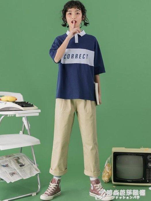 POLO衫 Polo衫女學生可愛夏cec短袖T恤新款丅恤女原宿風半袖寬鬆韓版