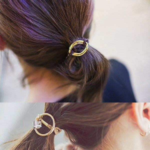~小桃子 韓國版 進口 髮飾髮圈 髮束 3款3色任選 金屬環扣 氣質出眾款  卡其/黑/紅  現貨當天出